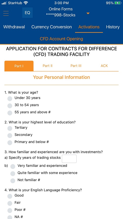 CFD Trading Facility within POEMS Mobile